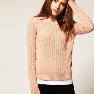 AMERICAN APPAREL pink classic cable knit sweater